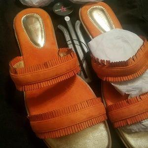 Orange Fringed Strappy Sandals Sz. 12  (NWT)
